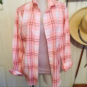 J Crew Pink Flannel Shirt - S Pink cotton plaid